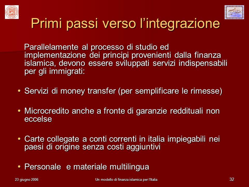 Primi passi verso l'integrazione