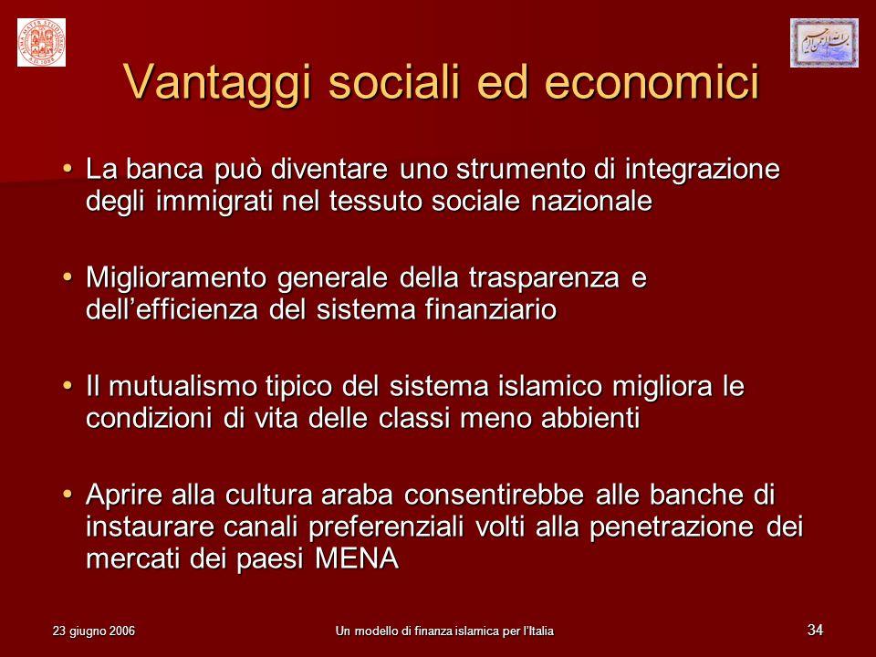Vantaggi sociali ed economici