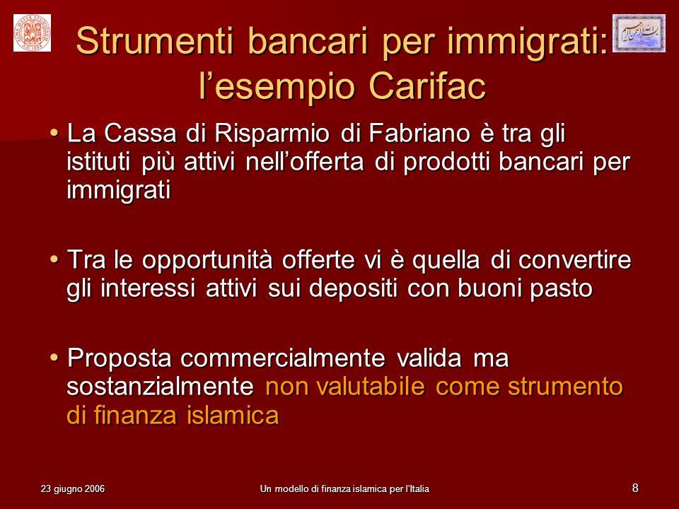 Strumenti bancari per immigrati: l'esempio Carifac
