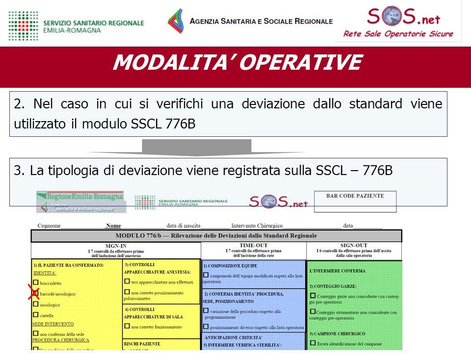 MODALITA' OPERATIVE 2. Nel caso in cui si verifichi una deviazione dallo standard viene utilizzato il modulo SSCL 776B.