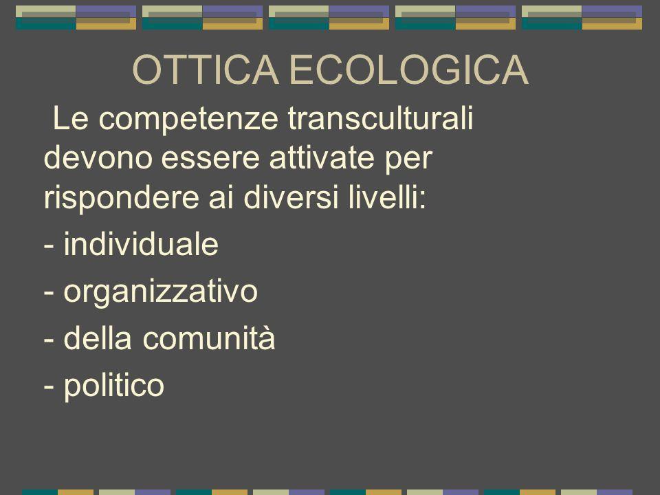 OTTICA ECOLOGICA Le competenze transculturali devono essere attivate per rispondere ai diversi livelli: