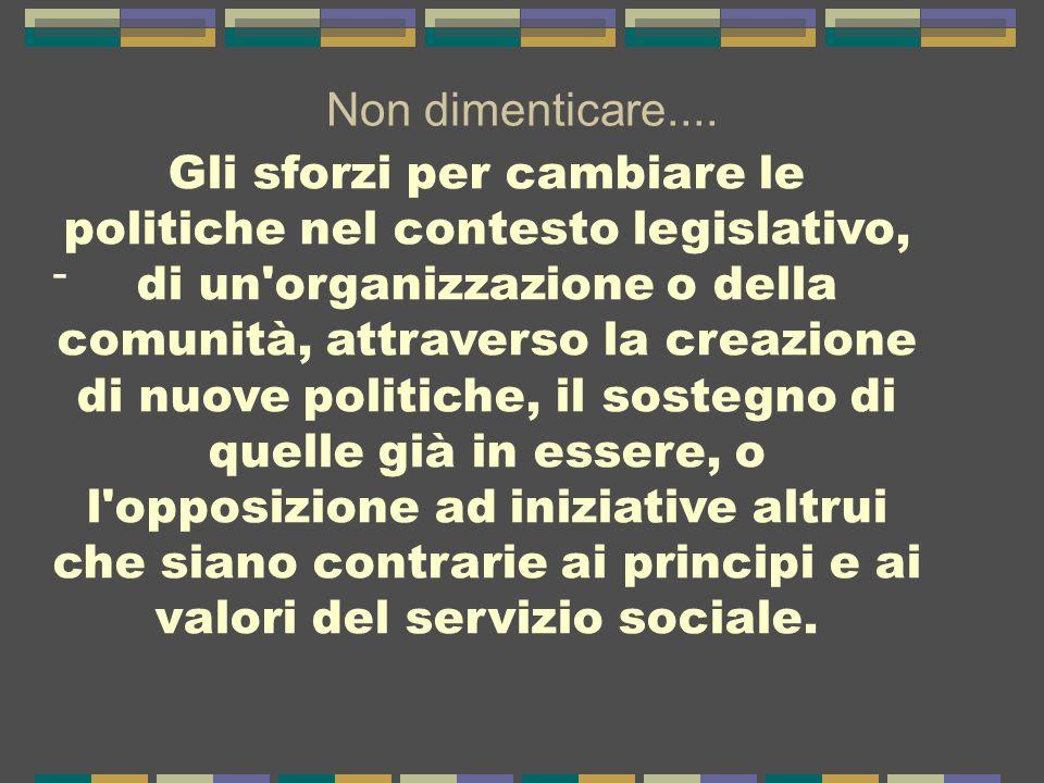 valori del servizio sociale.