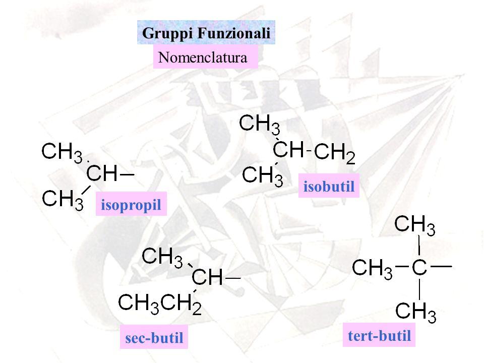 Gruppi Funzionali Nomenclatura isobutil isopropil sec-butil tert-butil