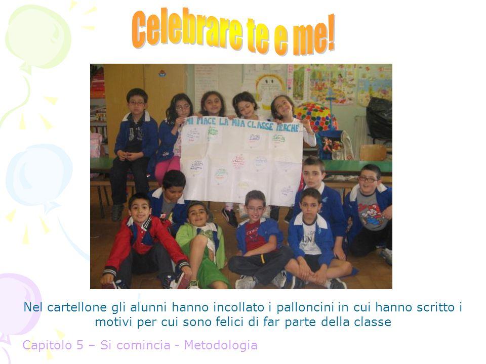 Celebrare te e me! Nel cartellone gli alunni hanno incollato i palloncini in cui hanno scritto i motivi per cui sono felici di far parte della classe.