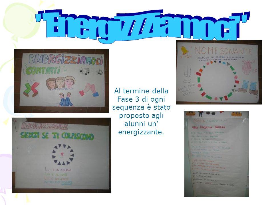 EnergiZZZiamoci Al termine della Fase 3 di ogni sequenza è stato proposto agli alunni un' energizzante.