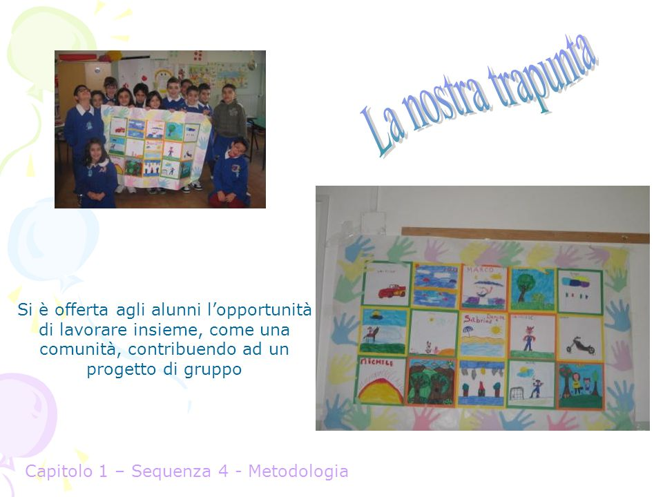 La nostra trapunta Si è offerta agli alunni l'opportunità di lavorare insieme, come una comunità, contribuendo ad un progetto di gruppo.