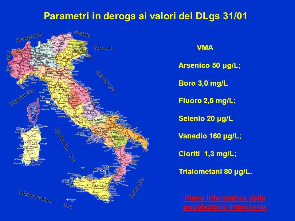 Parametri in deroga ai valori del DLgs 31/01