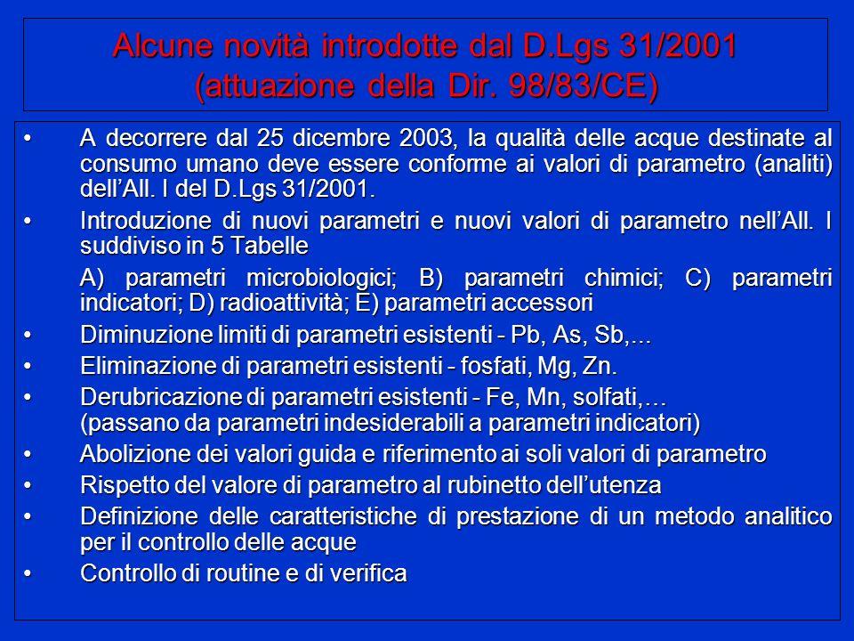 Alcune novità introdotte dal D. Lgs 31/2001 (attuazione della Dir