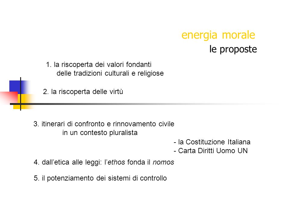 energia morale le proposte 1. la riscoperta dei valori fondanti