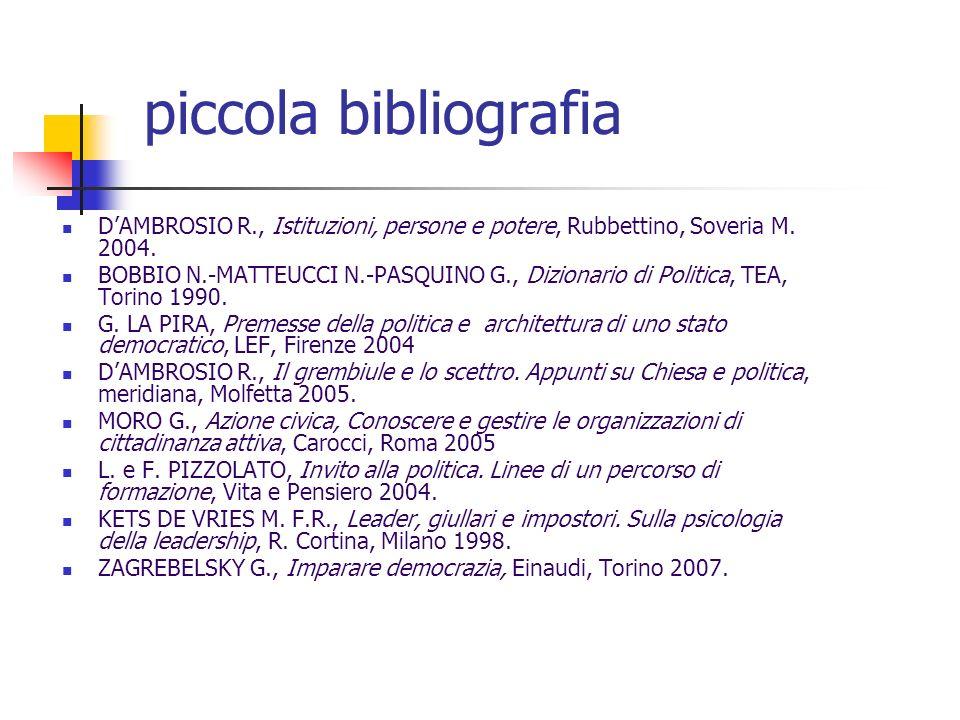 piccola bibliografia D'AMBROSIO R., Istituzioni, persone e potere, Rubbettino, Soveria M. 2004.
