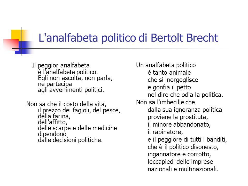 L analfabeta politico di Bertolt Brecht
