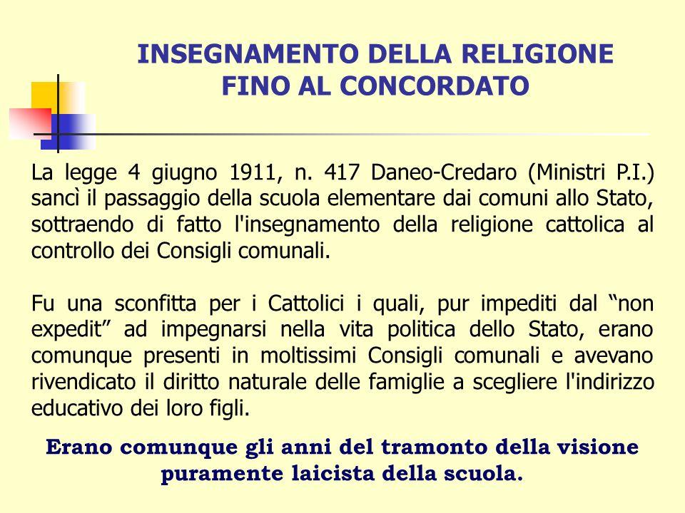 INSEGNAMENTO DELLA RELIGIONE FINO AL CONCORDATO