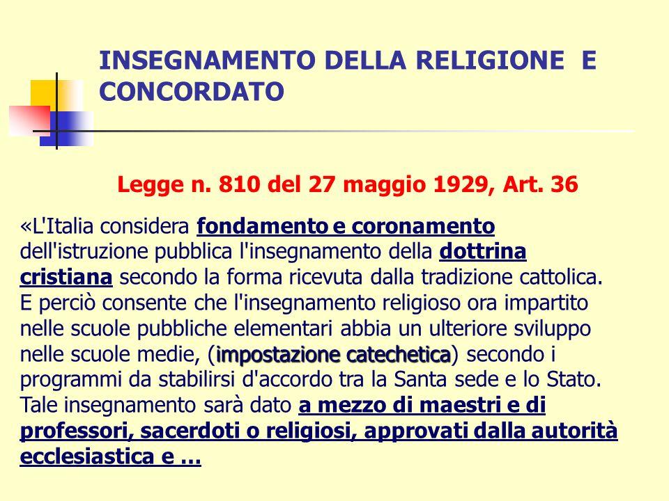 INSEGNAMENTO DELLA RELIGIONE E CONCORDATO