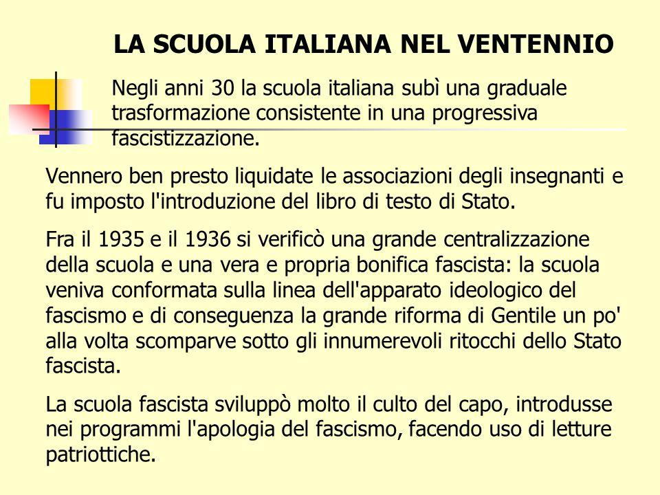 LA SCUOLA ITALIANA NEL VENTENNIO