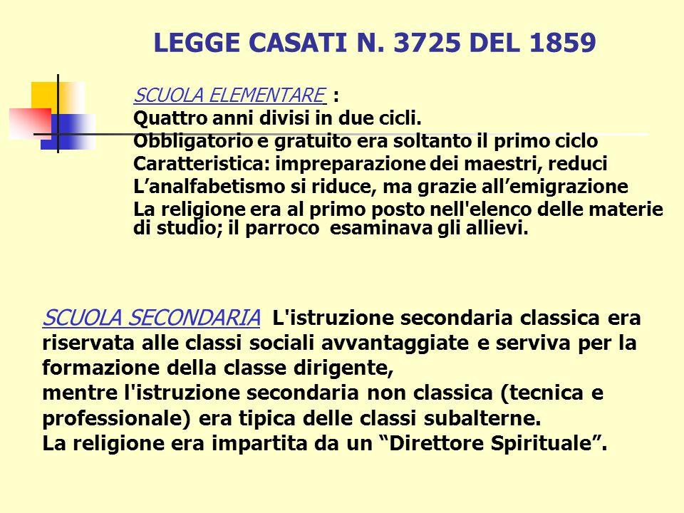 LEGGE CASATI N. 3725 DEL 1859 SCUOLA ELEMENTARE : Quattro anni divisi in due cicli. Obbligatorio e gratuito era soltanto il primo ciclo.