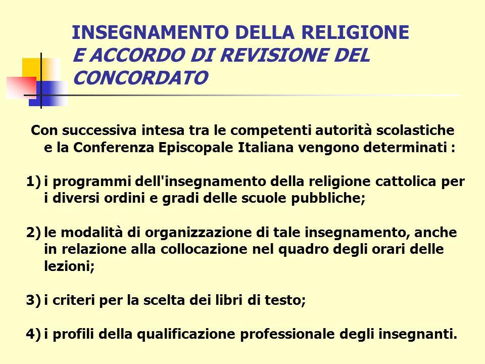 INSEGNAMENTO DELLA RELIGIONE E ACCORDO DI REVISIONE DEL CONCORDATO