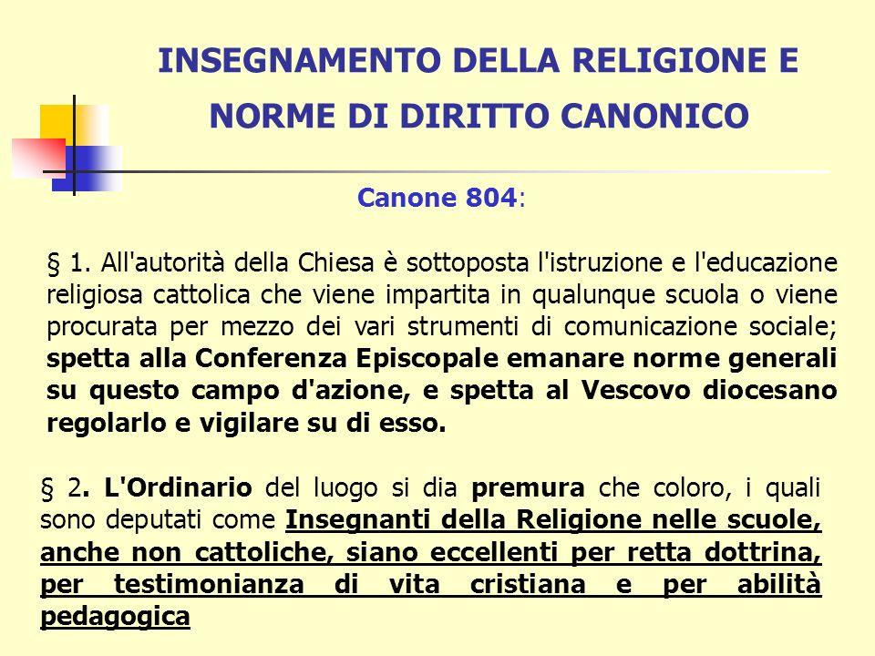 INSEGNAMENTO DELLA RELIGIONE E NORME DI DIRITTO CANONICO