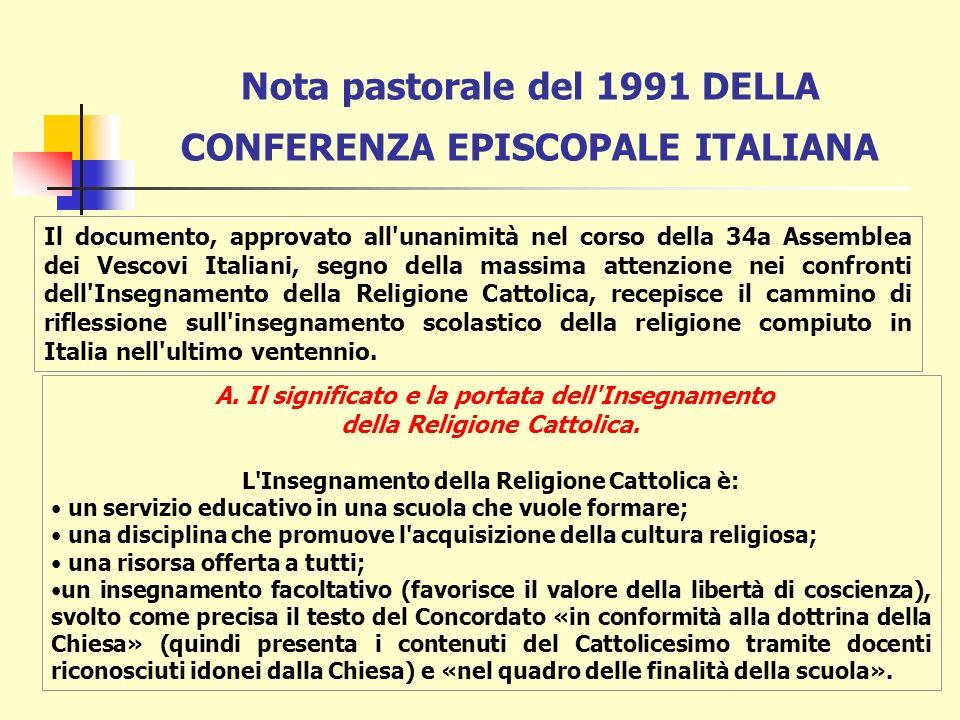 Nota pastorale del 1991 DELLA CONFERENZA EPISCOPALE ITALIANA