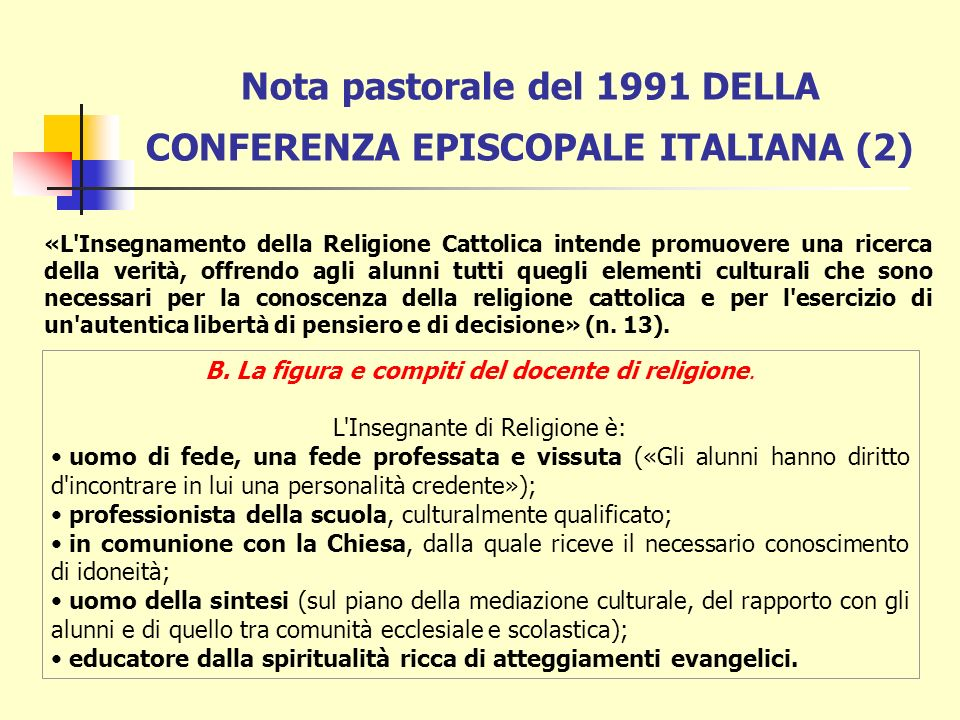Nota pastorale del 1991 DELLA CONFERENZA EPISCOPALE ITALIANA (2)