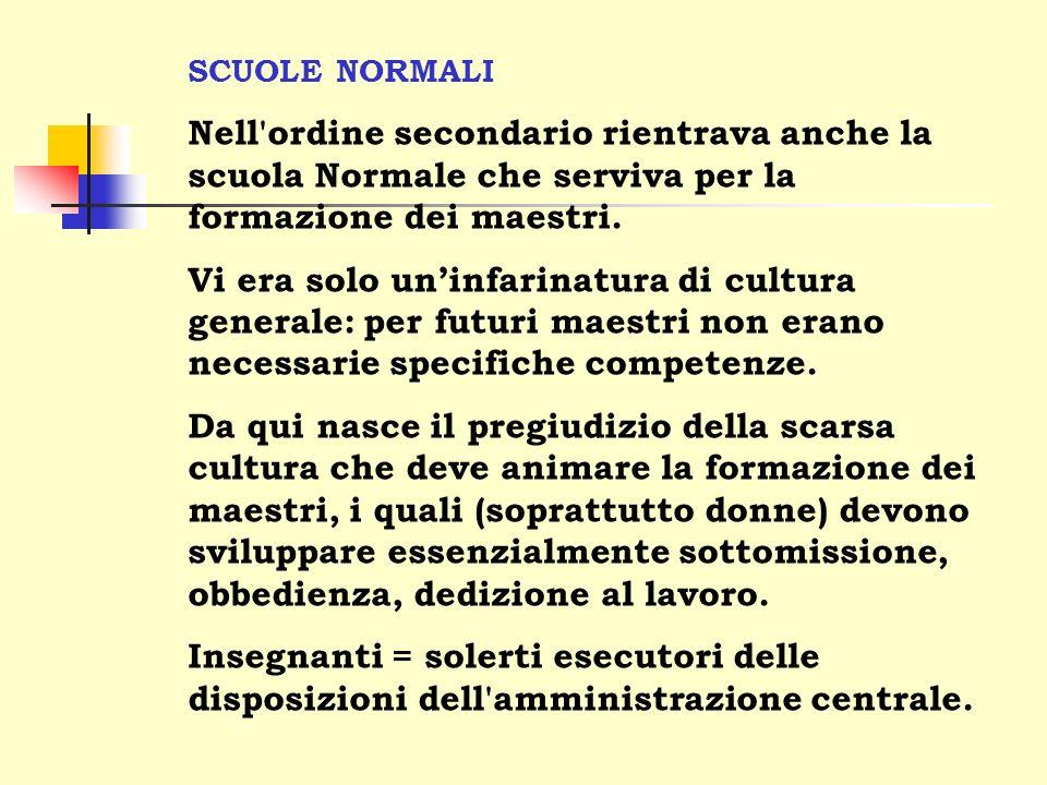 SCUOLE NORMALI Nell ordine secondario rientrava anche la scuola Normale che serviva per la formazione dei maestri.