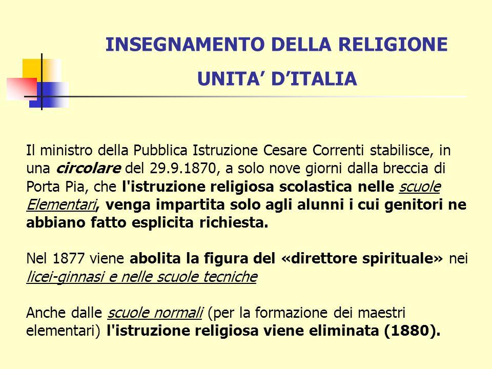 INSEGNAMENTO DELLA RELIGIONE