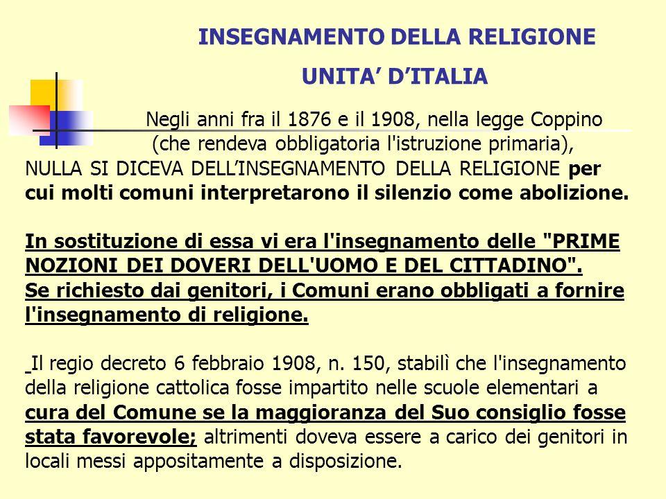 INSEGNAMENTO DELLA RELIGIONE UNITA' D'ITALIA