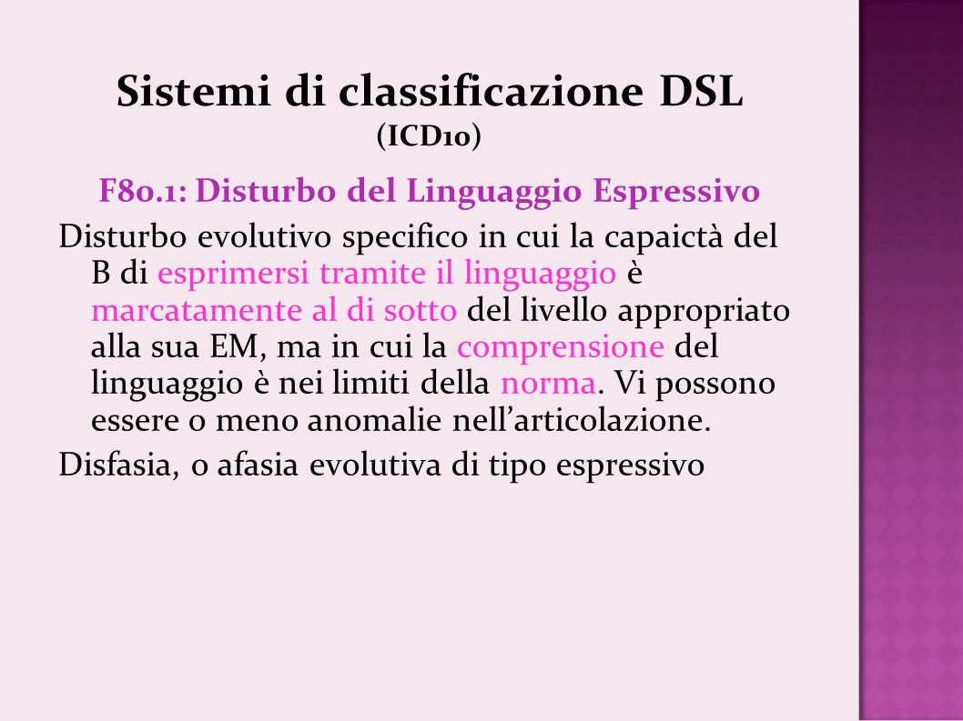 Sistemi di classificazione DSL (ICD10)