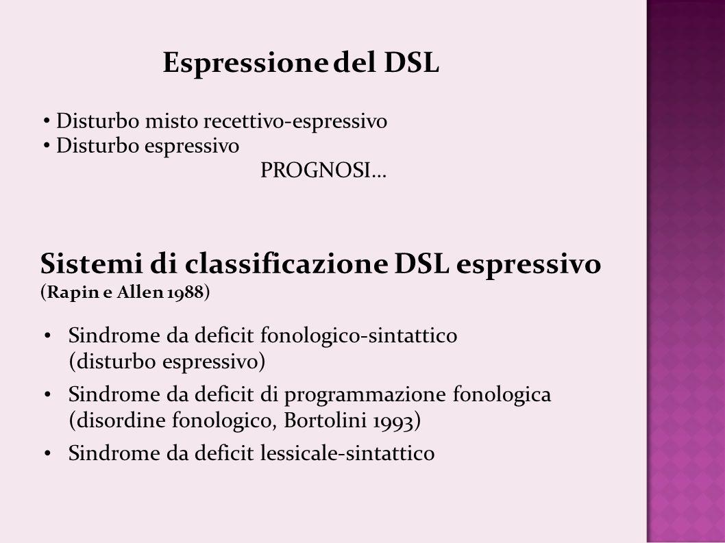 Sistemi di classificazione DSL espressivo (Rapin e Allen 1988)