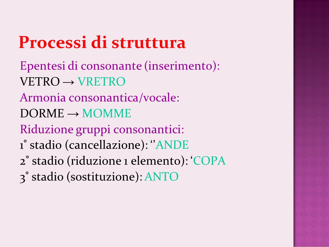 Processi di struttura Epentesi di consonante (inserimento):