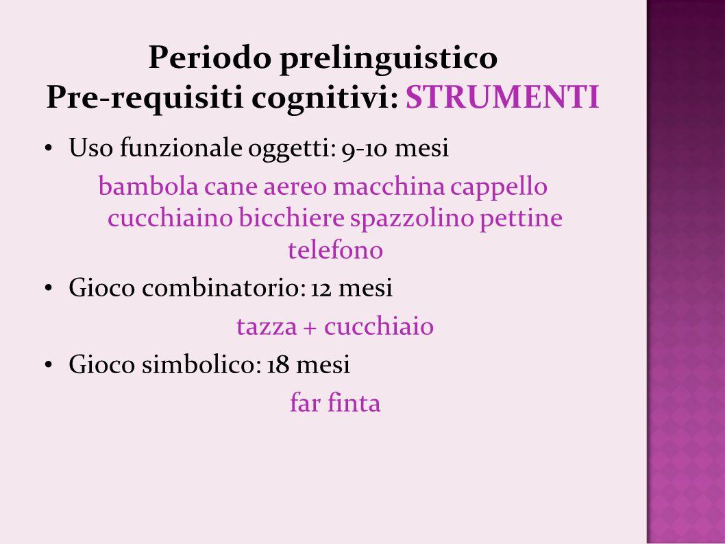 Periodo prelinguistico Pre-requisiti cognitivi: STRUMENTI