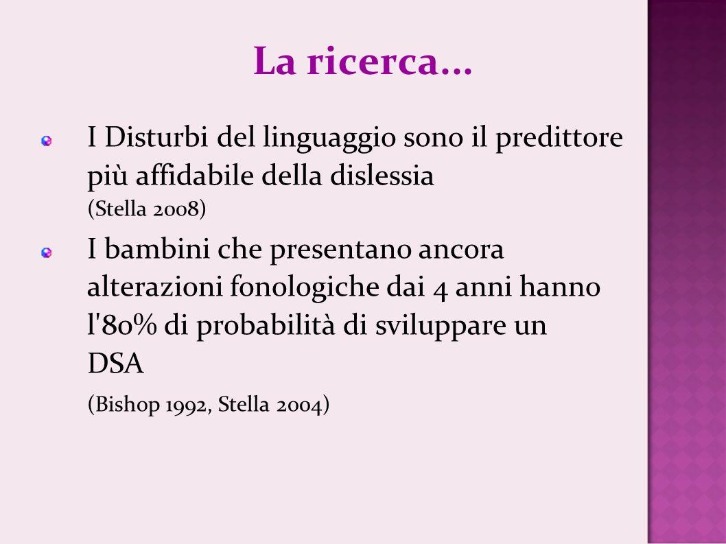 La ricerca...I Disturbi del linguaggio sono il predittore più affidabile della dislessia (Stella 2008)
