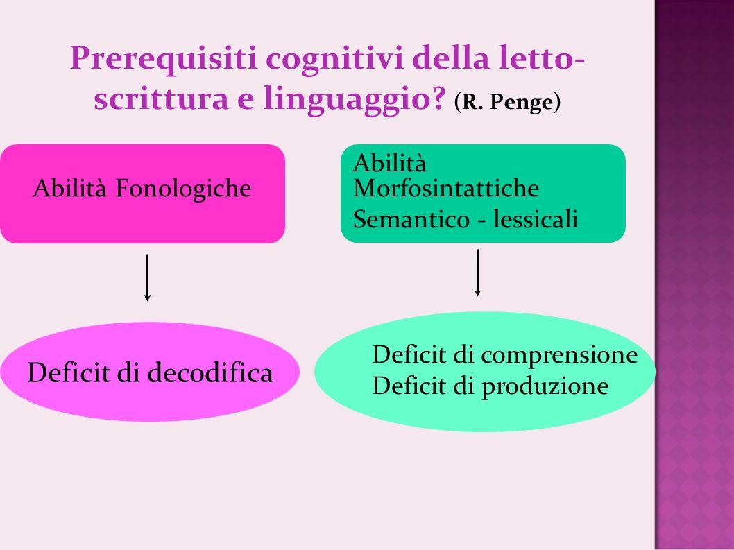 Prerequisiti cognitivi della letto-scrittura e linguaggio (R. Penge)