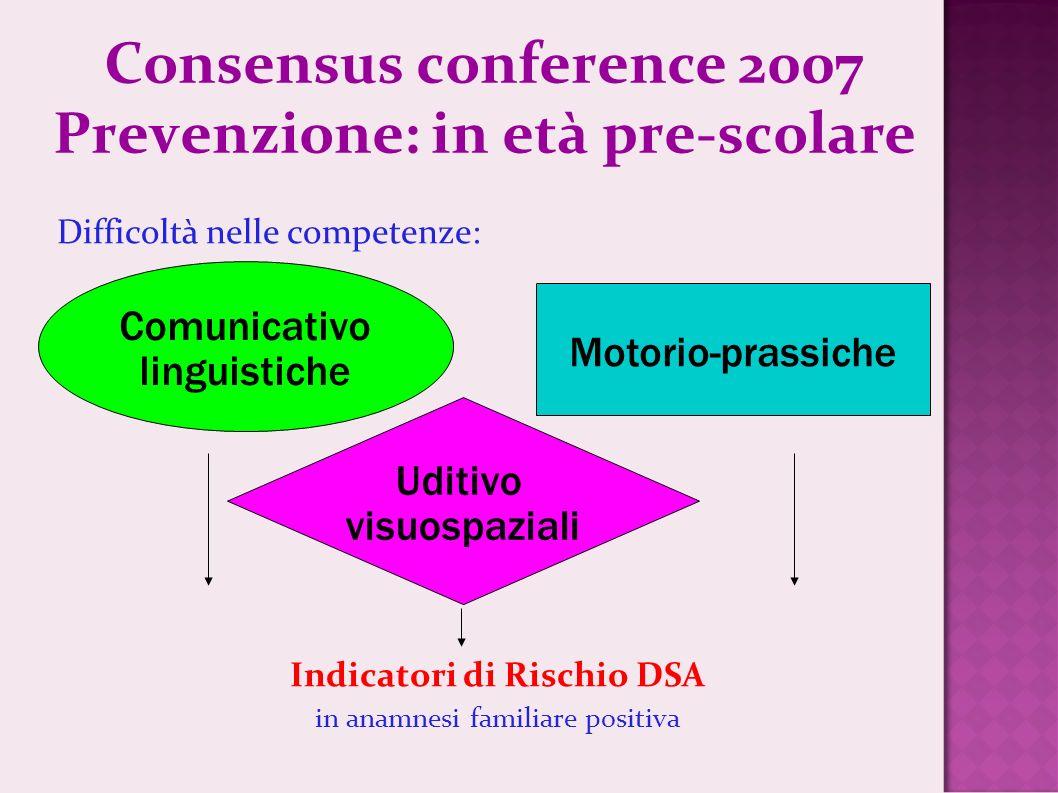 Consensus conference 2007 Prevenzione: in età pre-scolare
