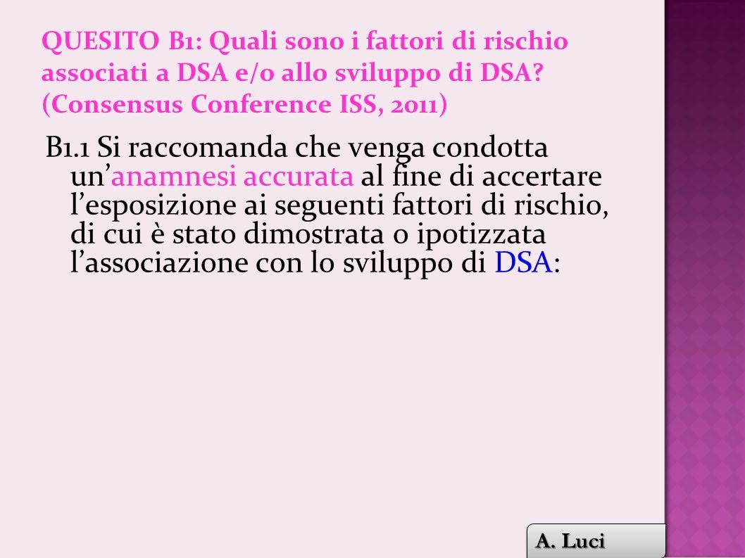 QUESITO B1: Quali sono i fattori di rischio associati a DSA e/o allo sviluppo di DSA (Consensus Conference ISS, 2011)