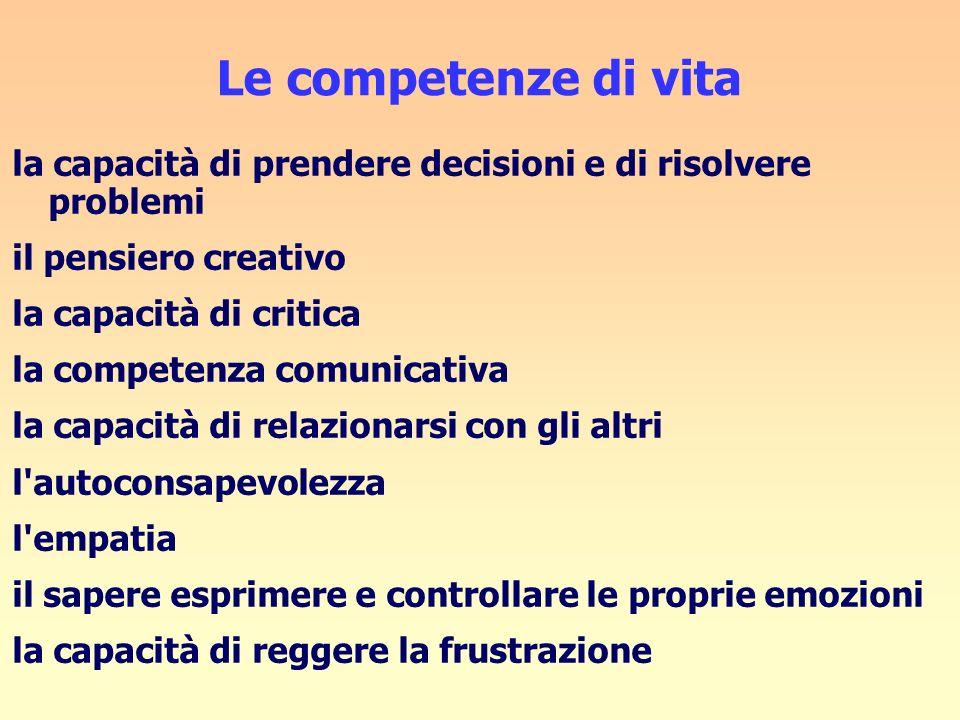 Le competenze di vita la capacità di prendere decisioni e di risolvere problemi. il pensiero creativo.
