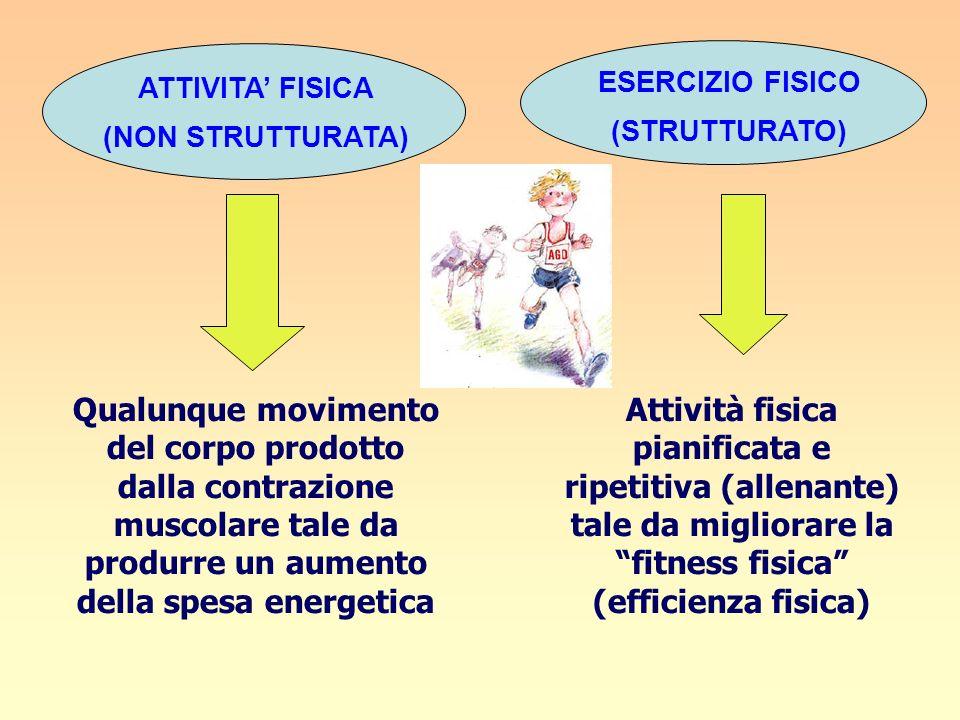 ESERCIZIO FISICO (STRUTTURATO) ATTIVITA' FISICA. (NON STRUTTURATA)