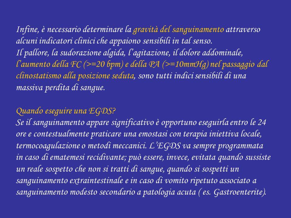 Infine, è necessario determinare la gravità del sanguinamento attraverso alcuni indicatori clinici che appaiono sensibili in tal senso.