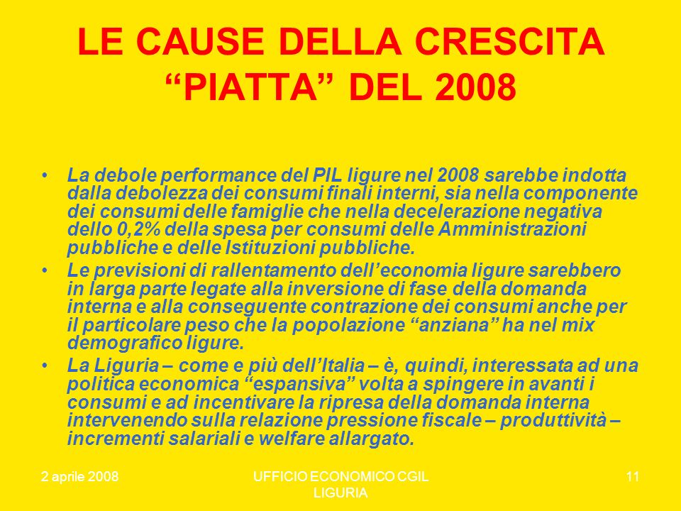 LE CAUSE DELLA CRESCITA PIATTA DEL 2008