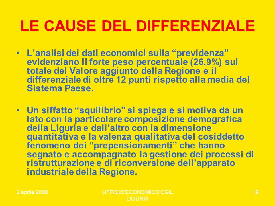 LE CAUSE DEL DIFFERENZIALE