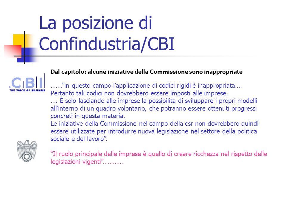 La posizione di Confindustria/CBI