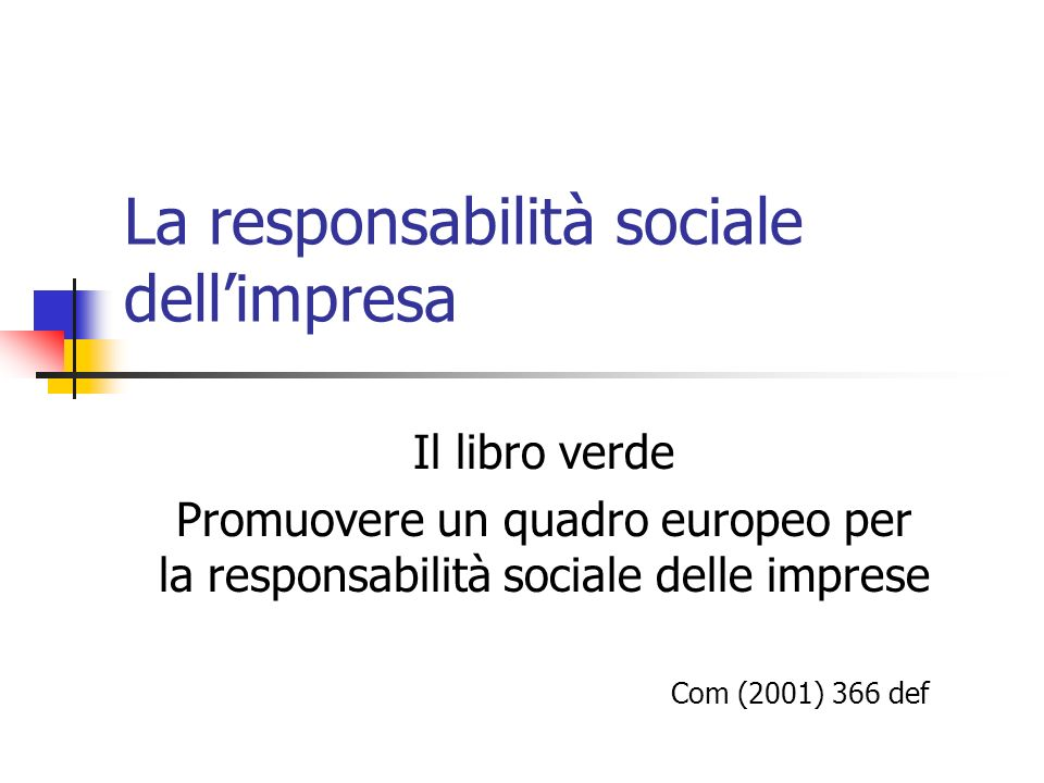 La responsabilità sociale dell'impresa