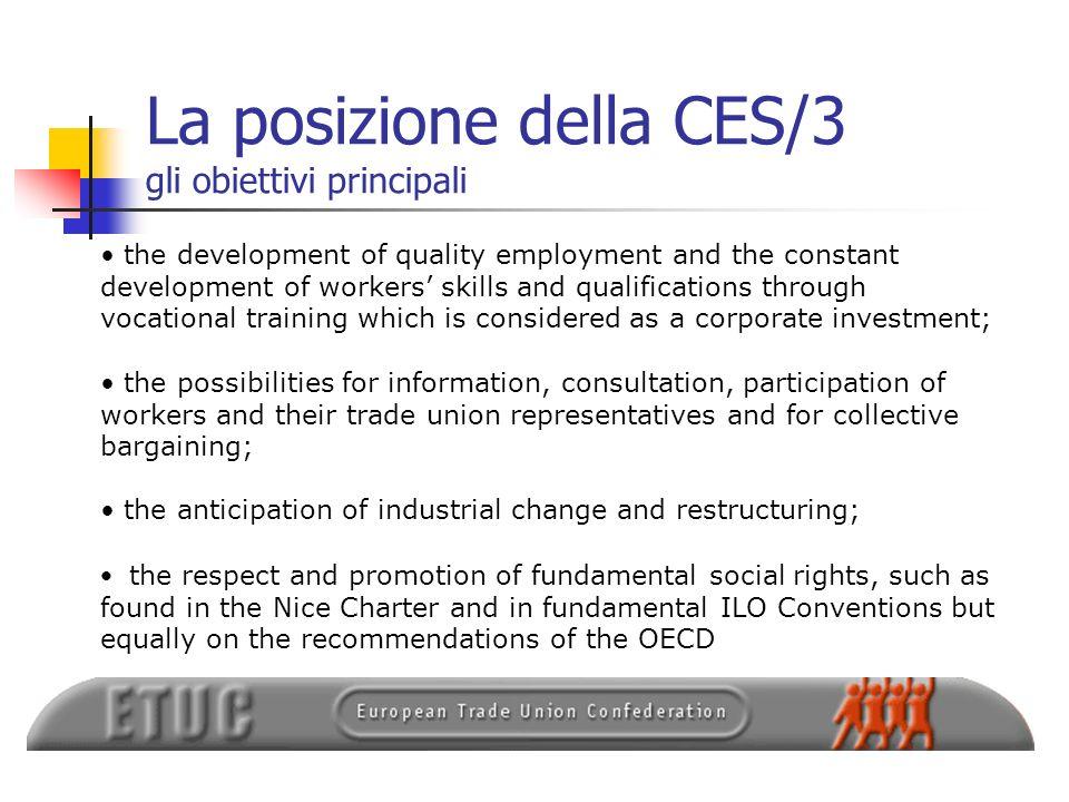 La posizione della CES/3 gli obiettivi principali
