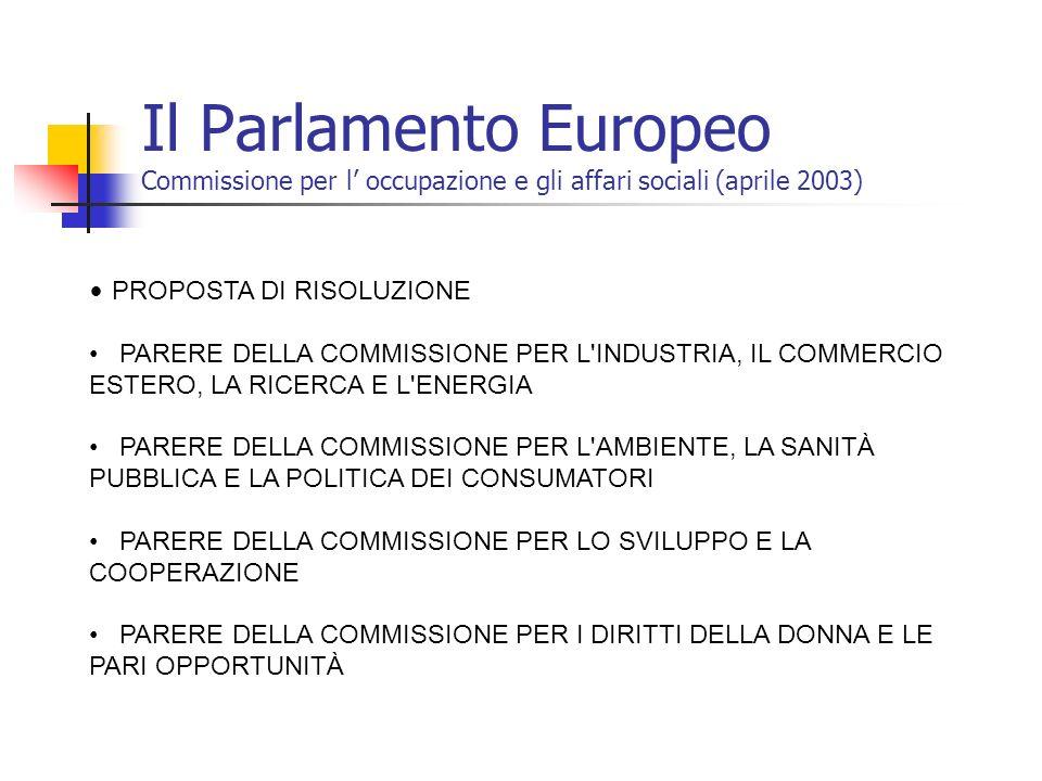 Il Parlamento Europeo Commissione per l' occupazione e gli affari sociali (aprile 2003)