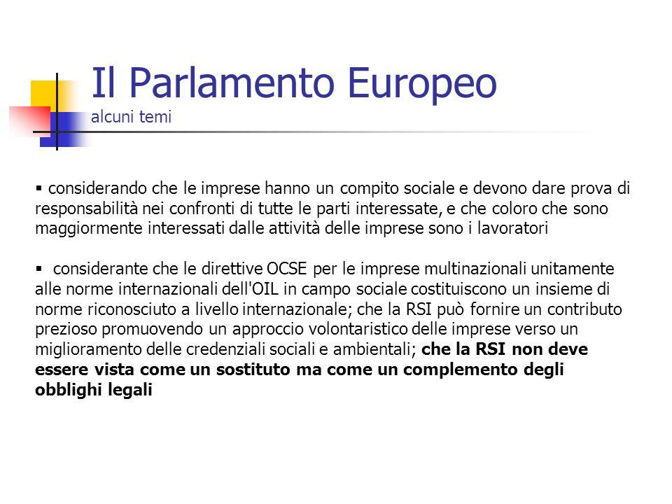 Il Parlamento Europeo alcuni temi