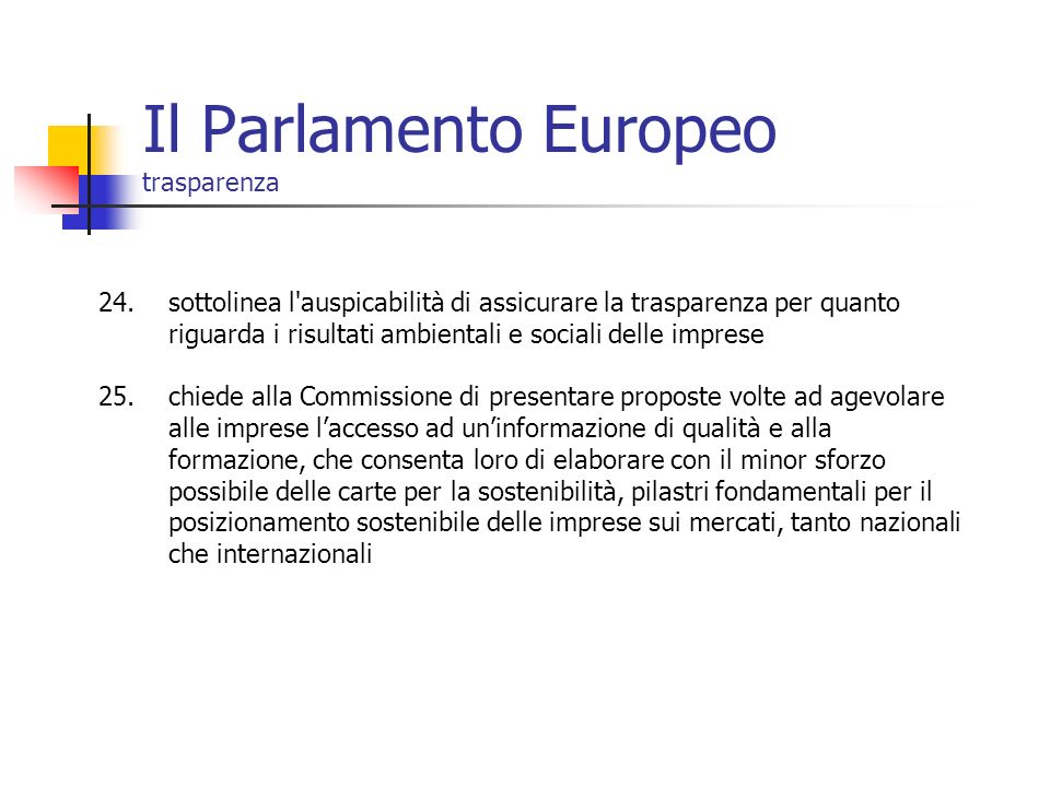 Il Parlamento Europeo trasparenza