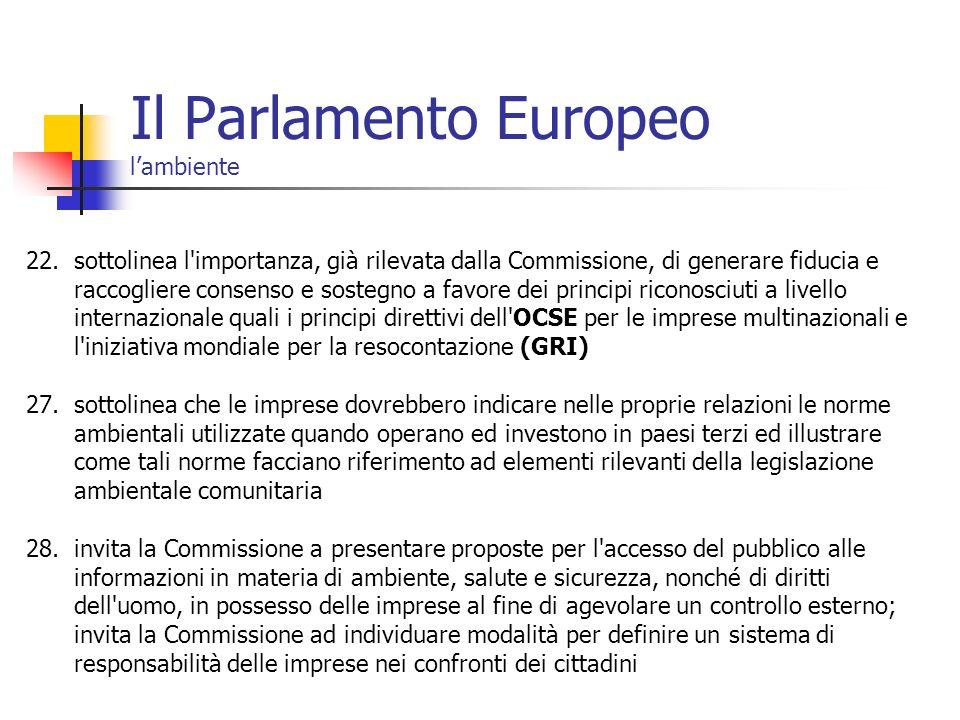 Il Parlamento Europeo l'ambiente