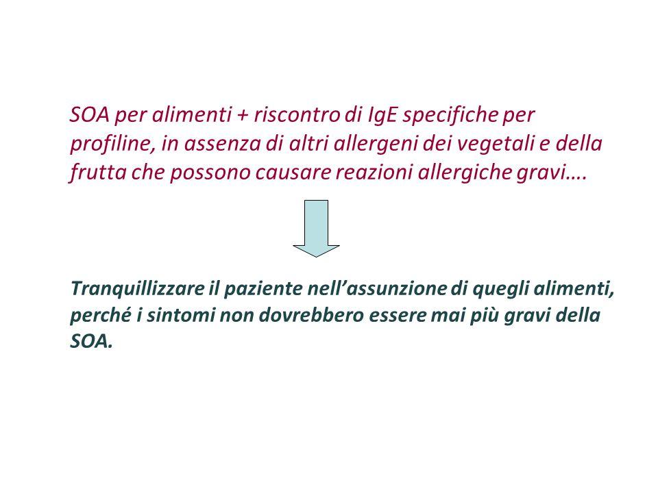 SOA per alimenti + riscontro di IgE specifiche per profiline, in assenza di altri allergeni dei vegetali e della frutta che possono causare reazioni allergiche gravi….