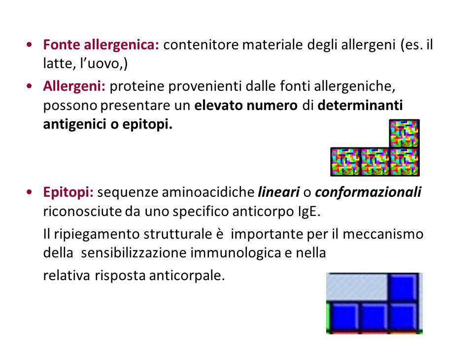 Fonte allergenica: contenitore materiale degli allergeni (es