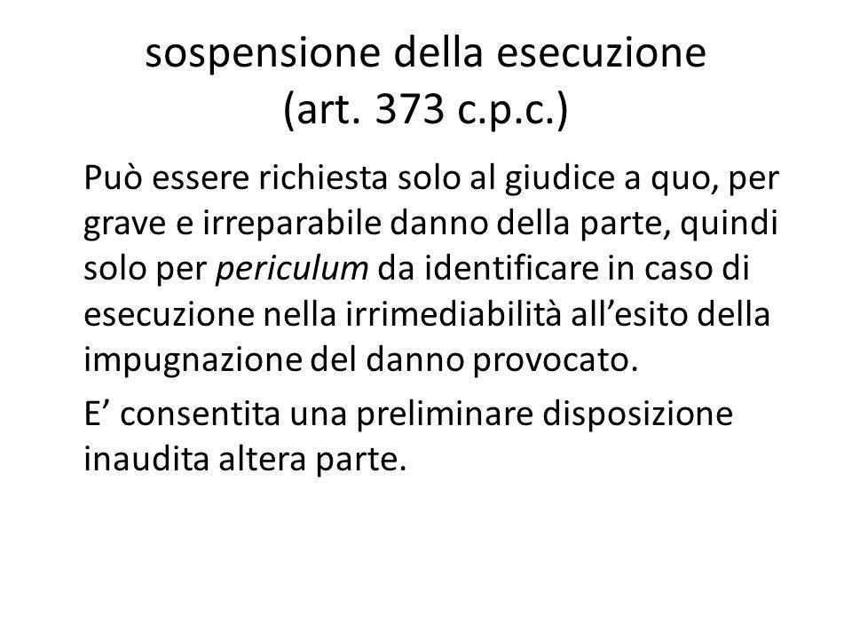 sospensione della esecuzione (art. 373 c.p.c.)