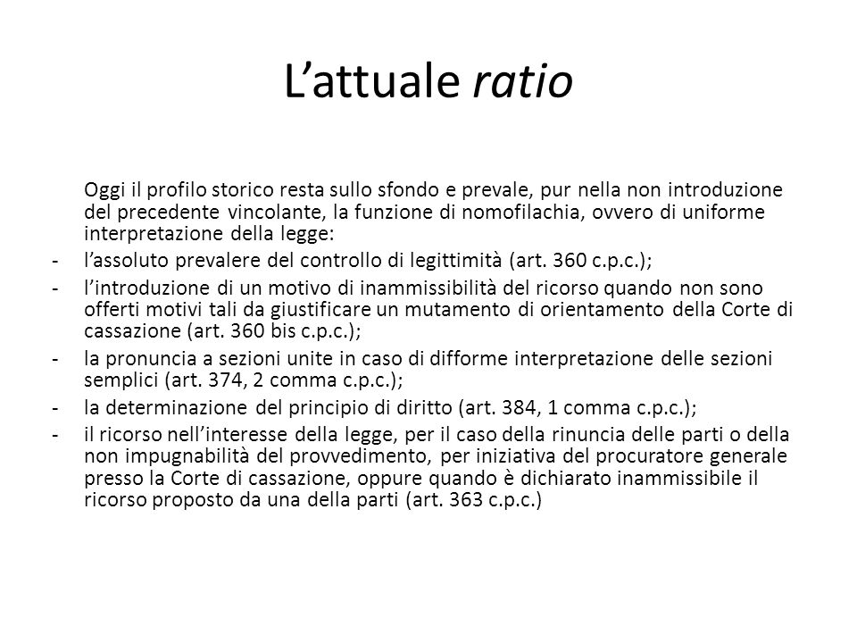 L'attuale ratio